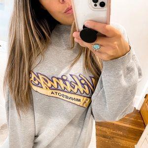 Minnesota Vikings Vintage Crewneck Sweatshirt Puma Gray Size Medium